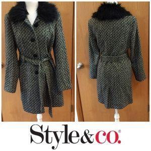 Style & Co. Gray Coat w/Black Collar